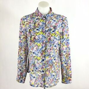Ann Taylor Top Floral Button Front Long Sleeve